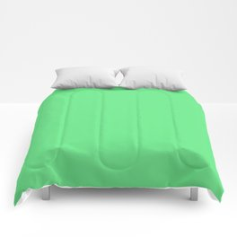 Simple Solid Color Apple Green All Over Print Comforters