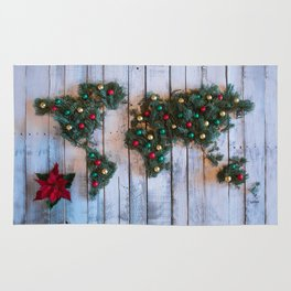Joy to the World Holiday Map Art Rug