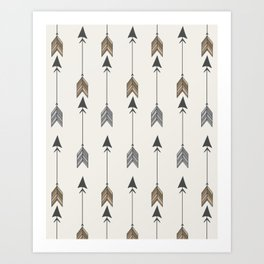 Vertical Arrow Patterns - Cream and Neutral Earth Tones Art Print