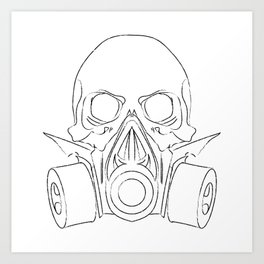Vector punk steampunk lineart Skull with gas mask Art Print