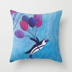 Airborne Penguins Throw Pillow