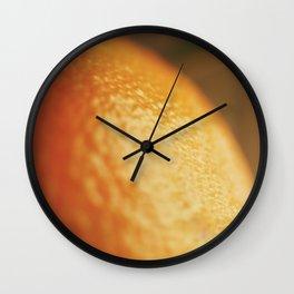 Orange peel, macro photography, fine art print, texture, for bar, home decor or interior desig Wall Clock