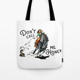 """Don't Call Me Honey"" Cowgirl On Horseback Shooting a Rattlesnake Tote Bag"