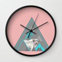 polar bear Wall Clocks featuring polar bear by Clare Corfield Carr