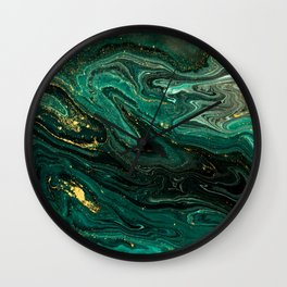 Abstract Pour Painting Liquid Marble Dark Green Teal Painting Gold Accent Wall Clock