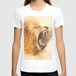 Lion Fierce Roar Splatter T-shirt