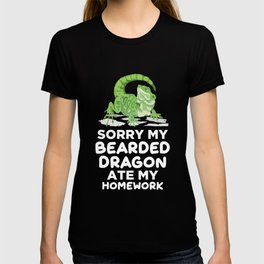 Bearded Dragon Ate Homework Reptile School Jokes T-shirt
