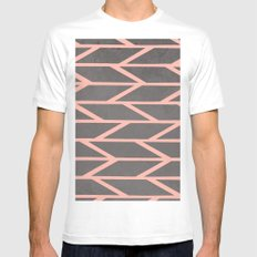 Modern blush pink stripes chevron geometric grey concrete cement background Mens Fitted Tee White MEDIUM