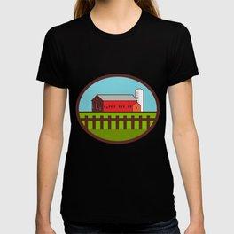 Farm Barn House Silo Oval Retro T-shirt