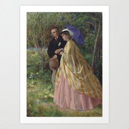 John Bagnold Burgess,  Lovers conversing in a bluebell wood Art Print