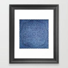Mandala on Blue Jeans Framed Art Print