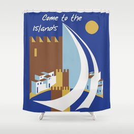 Come to the islands retro travel Shower Curtain
