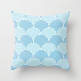Simple Deco Fan Pattern - Blue Throw Pillow