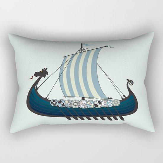 Blue viking ship Rectangular Pillow
