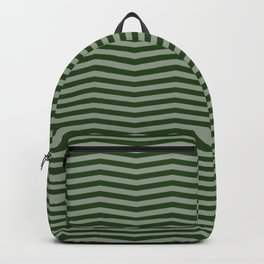 Dark Forest Green Chevron Zigzag Stripes Backpack