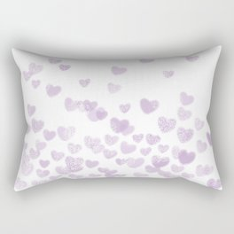 Hearts falling painted pastels purple heart pattern minimal art print nursery baby art Rectangular Pillow