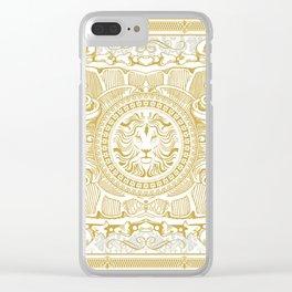 Medallion Lion Vintage Renaisance White Gold Clear iPhone Case