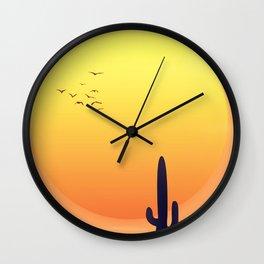Desert Landscape setting sun. Wall Clock