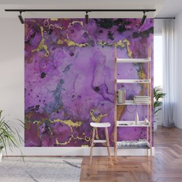 Purple Ink Gold Glitter Marble Wall Mural