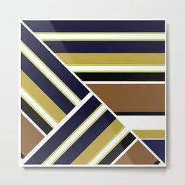 Black - brown combo stripes . Metal Print