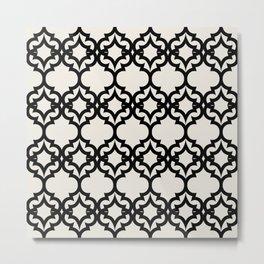 Lattice Stars in Black and Ivory Metal Print