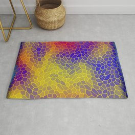 Volumetric texture of pieces of yellow glass with a Iridescent mysterious mosaic. Rug
