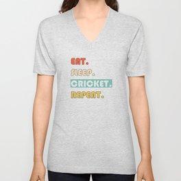Eat Sleep Cricket Repeat Funny Sport Unisex V-Neck