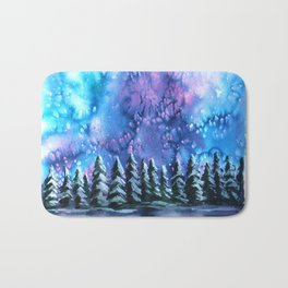Watercolor Winter Pines under the Northern Lights Bath Mat