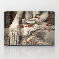 buddhism iPad Cases featuring Buddha with flowers by Maria Heyens