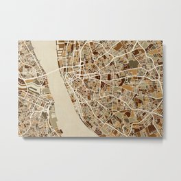 Liverpool England Street Map Metal Print