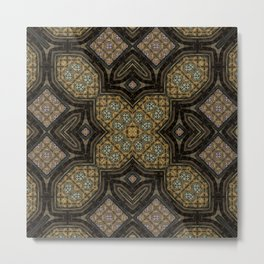 Victorian Art Deco Medieval Pattern brown SB24 Metal Print