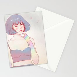 Day dreaming girl Stationery Cards