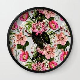 Meadow of wild pink flowers Wall Clock