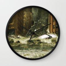 Water vs City Wall Clock