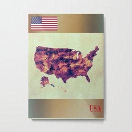 USA Map with Flag Metal Print