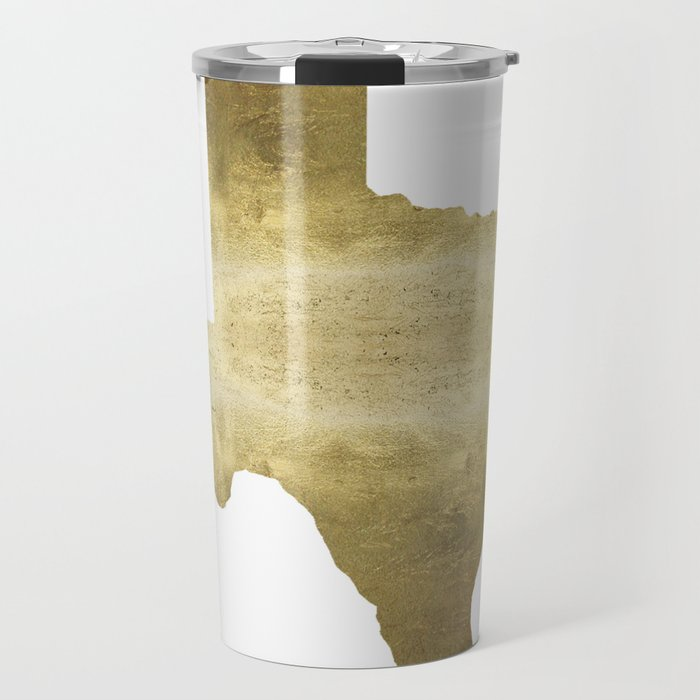 texas gold foil print state map Travel Mug by huntleigh