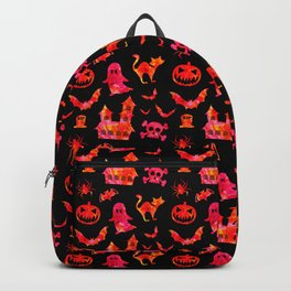 Watercolor Halloween Icons in Black + Orange Candy Backpack