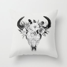 Monochrome Floral bohemian black and white watercolor animal stag head skull boho home wall decor Throw Pillow