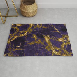 Royal Purple Marble with Gold Nugget Veins Rug