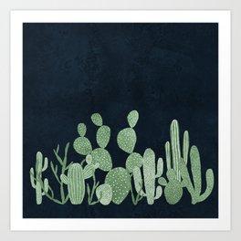 Green cactus garden Art Print
