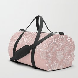 Elegant white lace floral and confetti design Duffle Bag