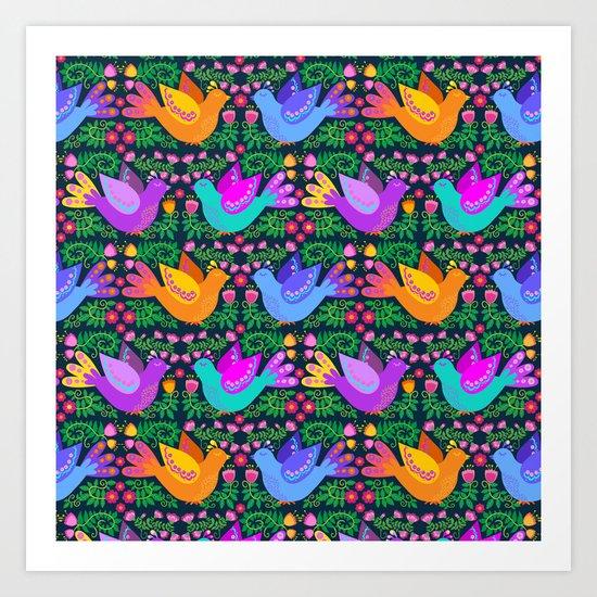 Folk Art Birdies - Bright, happy, colorful birds! Art Print