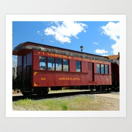 Red Railroad Car - Cumbres And Toltec Art Print