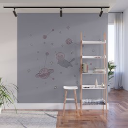 Astronaut cat in outer space Wall Mural