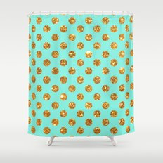 Chic Gold Glitter Polka Dots Pattern On Turquoise Shower Curtain