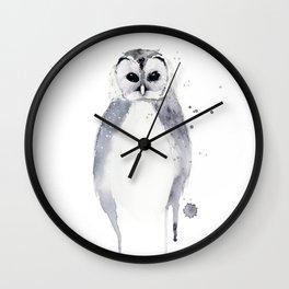 Owl - Winter White Wall Clock