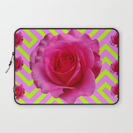 CONTEMPORARY CHARTREUSE PINK ROSES ABSTRACT GARDEN ART Laptop Sleeve