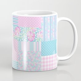 Roses and Butterflies Faux Patchwork Coffee Mug