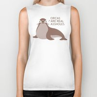 seal Biker Tanks featuring Seal of Reproval by David Olenick