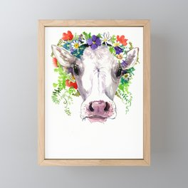 Cow and Flowers, Cow head floral Farm cattle head famr animals Framed Mini Art Print